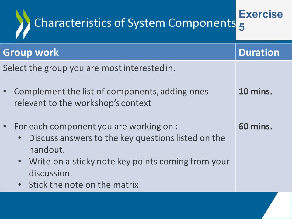 Characteristics of System Components Exercise 5 Group workDuration Select the group you are most interested in.