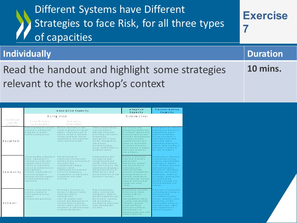 Different Systems have Different Strategies to face Risk, for all three types of capacities Exercise 7 IndividuallyDuration Read the handout and highlight some strategies relevant to the workshop's context 10 mins.