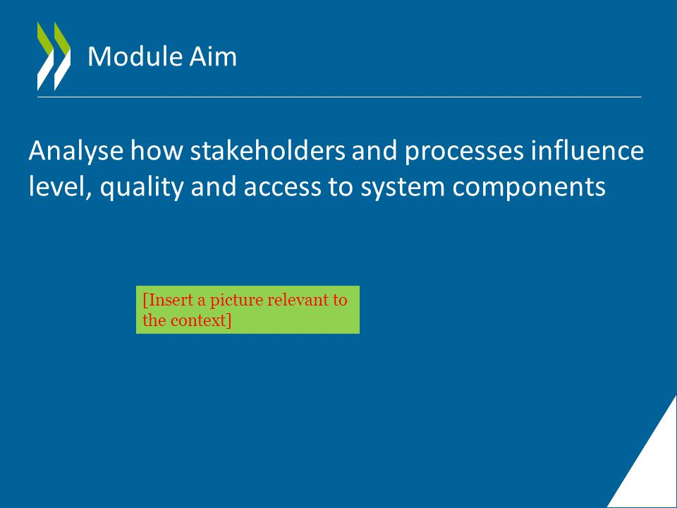 Module Aim Analyse how stakeholders and processes influence level, quality and access to system components [Insert a picture relevant to the context]