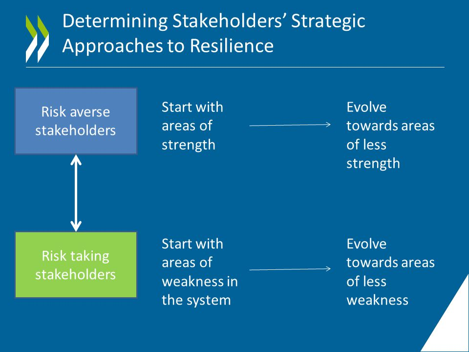 Determining Stakeholders' Strategic Approaches to Resilience Risk averse stakeholders Risk taking stakeholders Start with areas of strength Start with areas of weakness in the system Evolve towards areas of less strength Evolve towards areas of less weakness