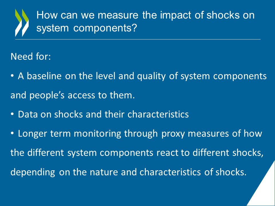 How can we measure the impact of shocks on system components.