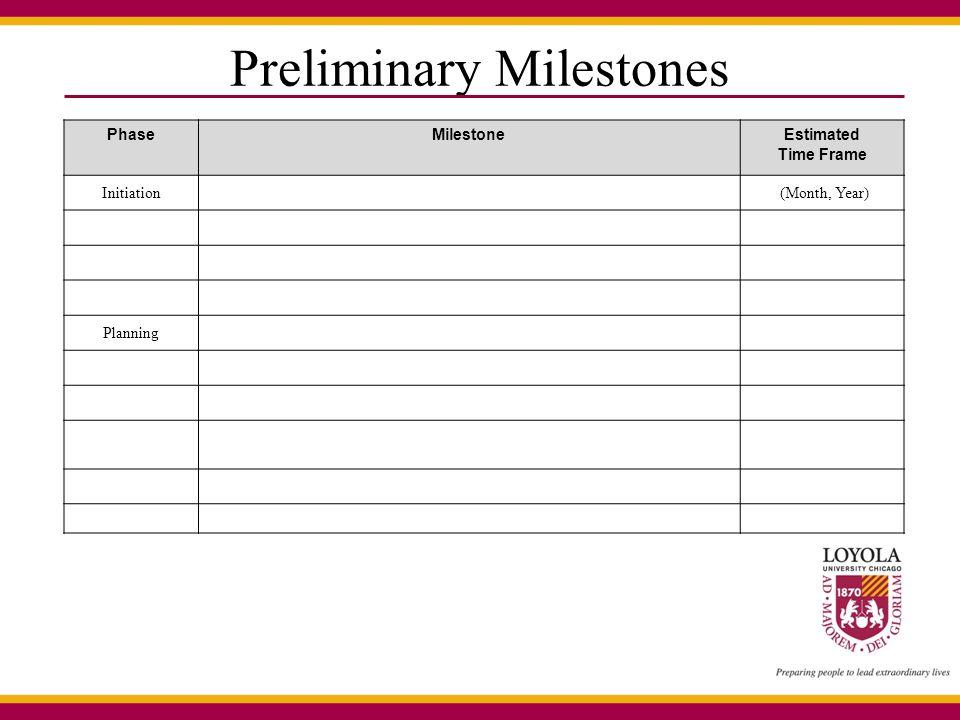 Preliminary Milestones PhaseMilestoneEstimated Time Frame Initiation (Month, Year) Planning