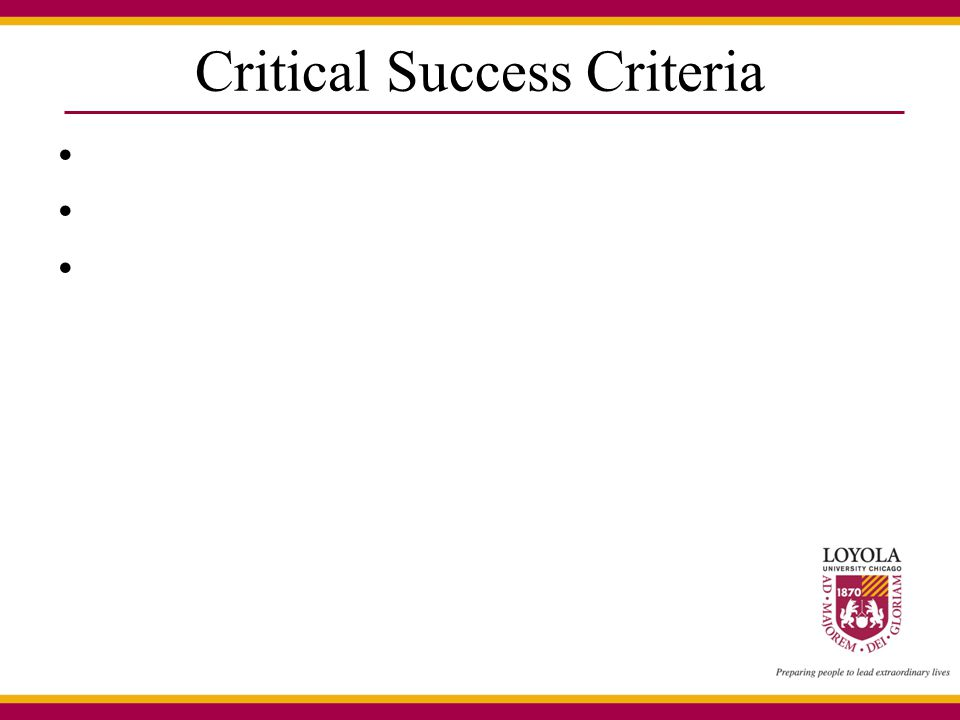 Critical Success Criteria