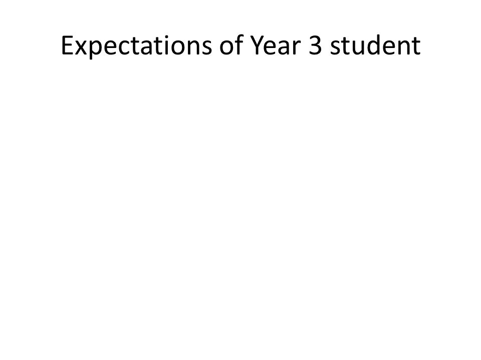 Expectations of Year 3 student