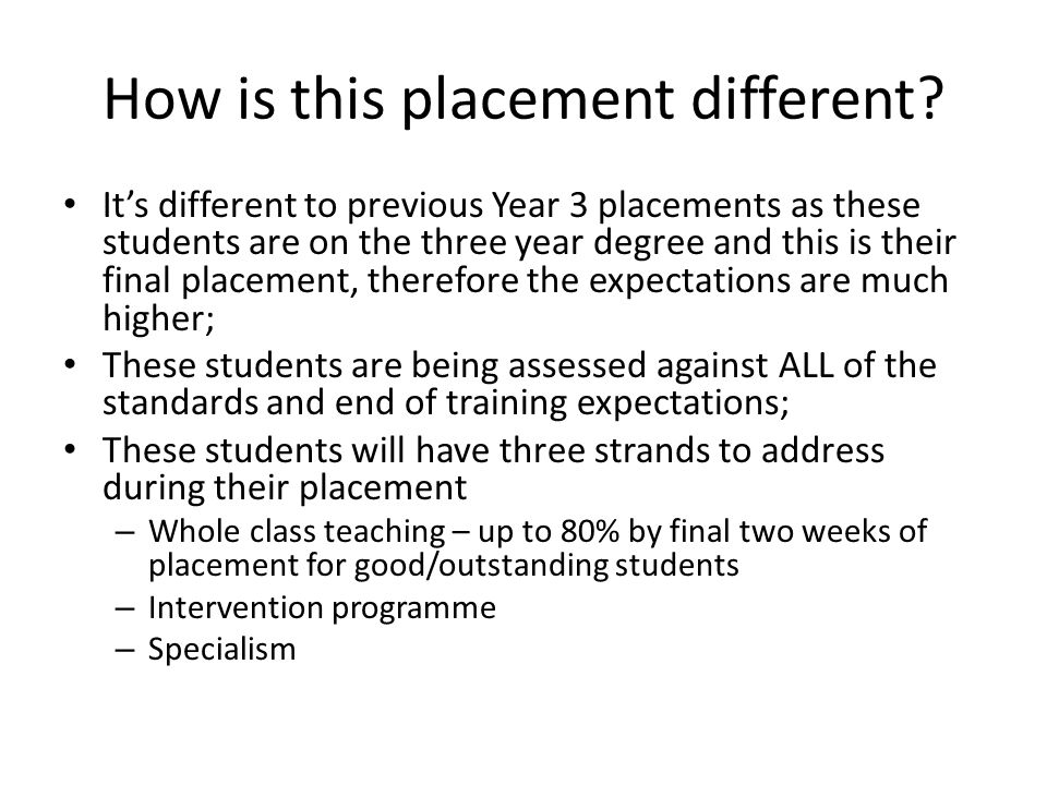 How is this placement different? It's different to previous Year 3 placements as these students are on the three year degree and this is their final p