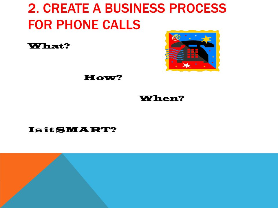 2. CREATE A BUSINESS PROCESS FOR PHONE CALLS What How When Is it SMART