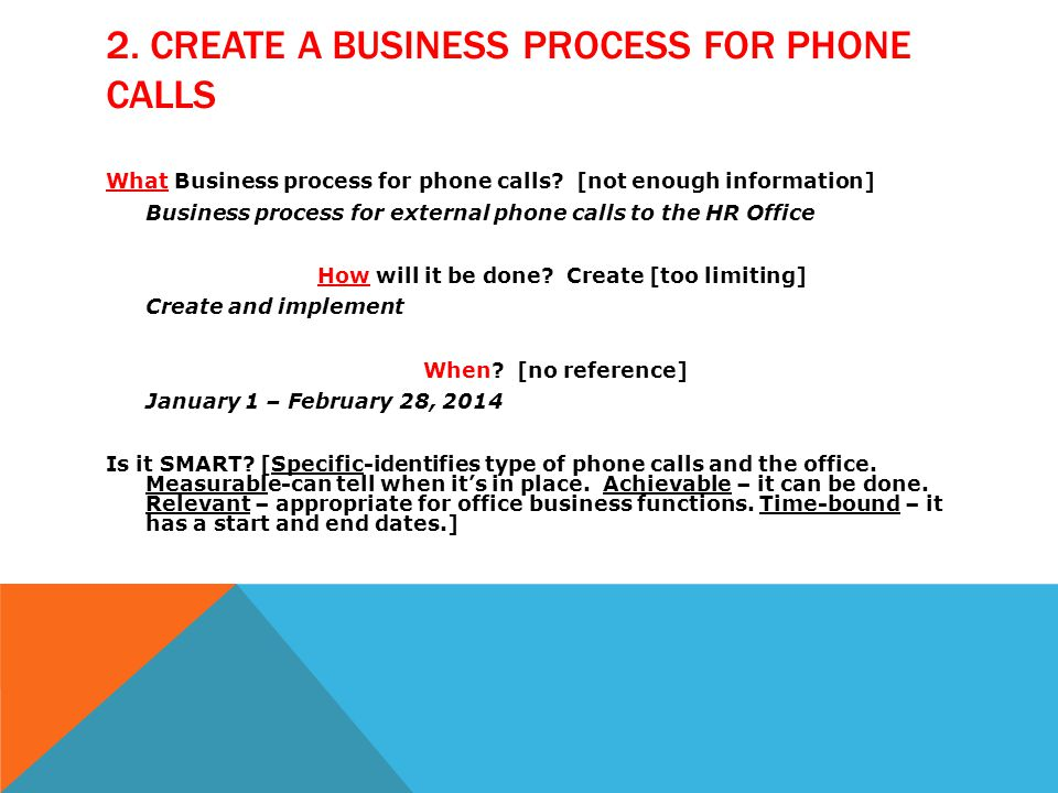 What Business process for phone calls.