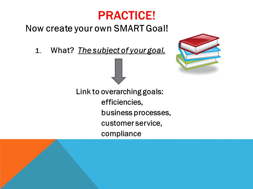 PRACTICE. Now create your own SMART Goal. 1. What.