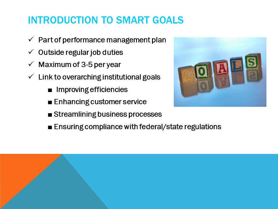 INTRODUCTION TO SMART GOALS Part of performance management plan Outside regular job duties Maximum of 3-5 per year Link to overarching institutional goals ■ Improving efficiencies ■ Enhancing customer service ■ Streamlining business processes ■ Ensuring compliance with federal/state regulations