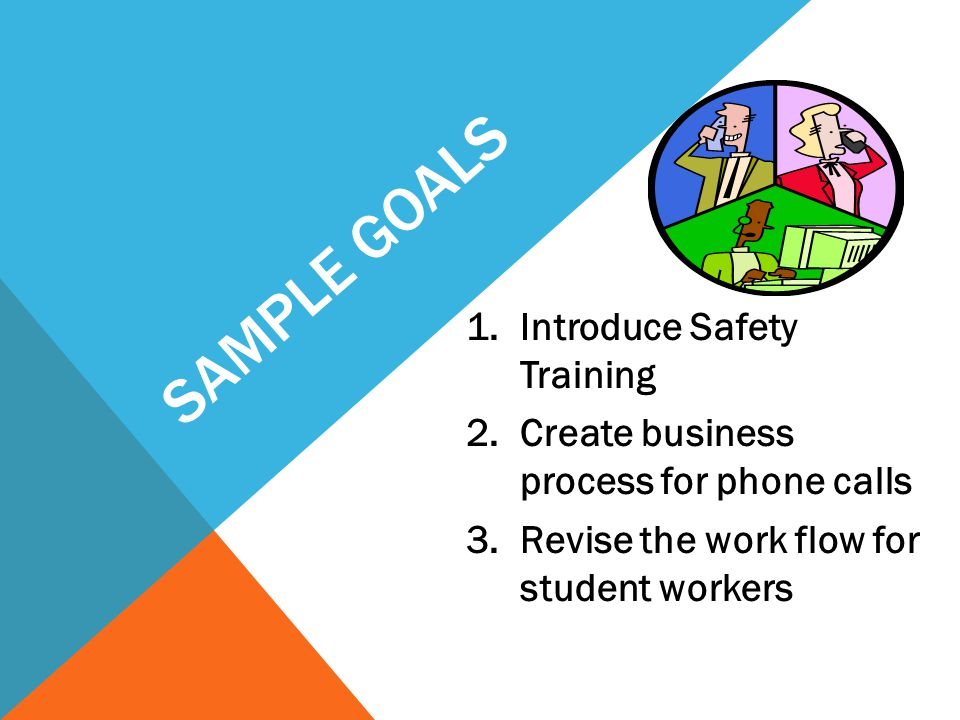 SAMPLE GOALS 1.Introduce Safety Training 2.Create business process for phone calls 3.Revise the work flow for student workers