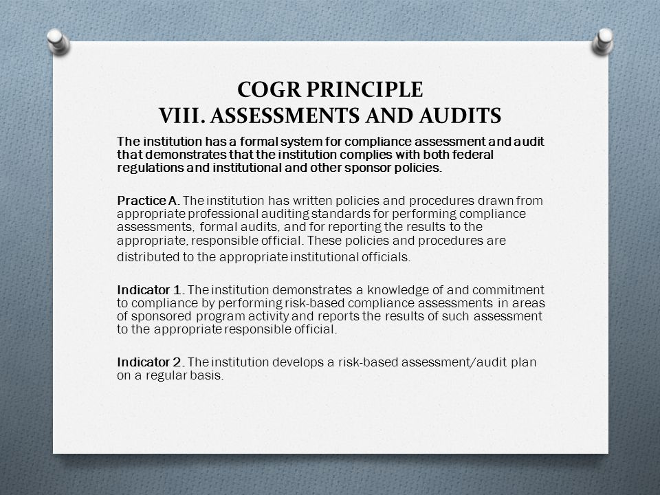 COGR PRINCIPLE VIII.