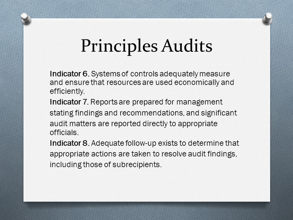 Principles Audits Indicator 6.