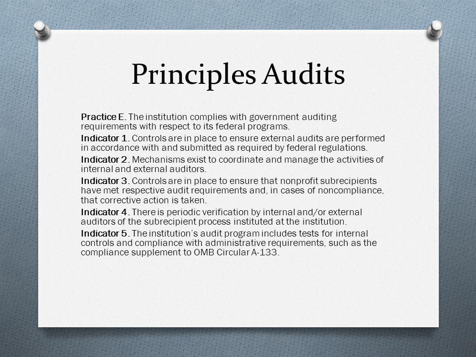 Principles Audits Practice E.