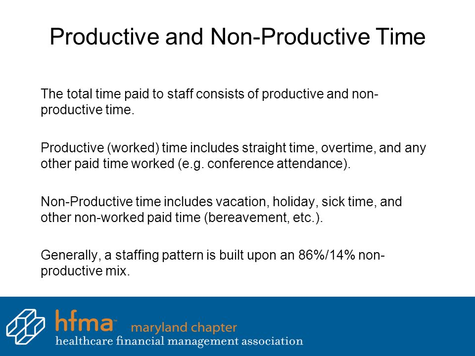Productive and Non-Productive Time The total time paid to staff consists of productive and non- productive time. Productive (worked) time includes str