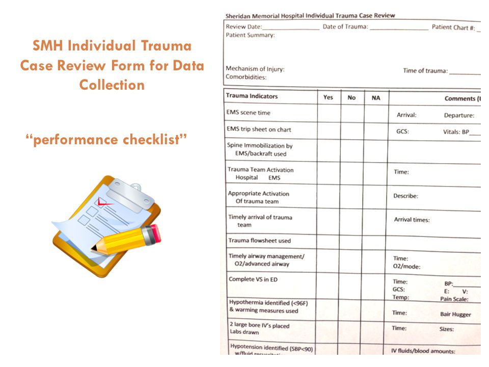 SMH Individual Trauma Case Review Form for Data Collection performance checklist