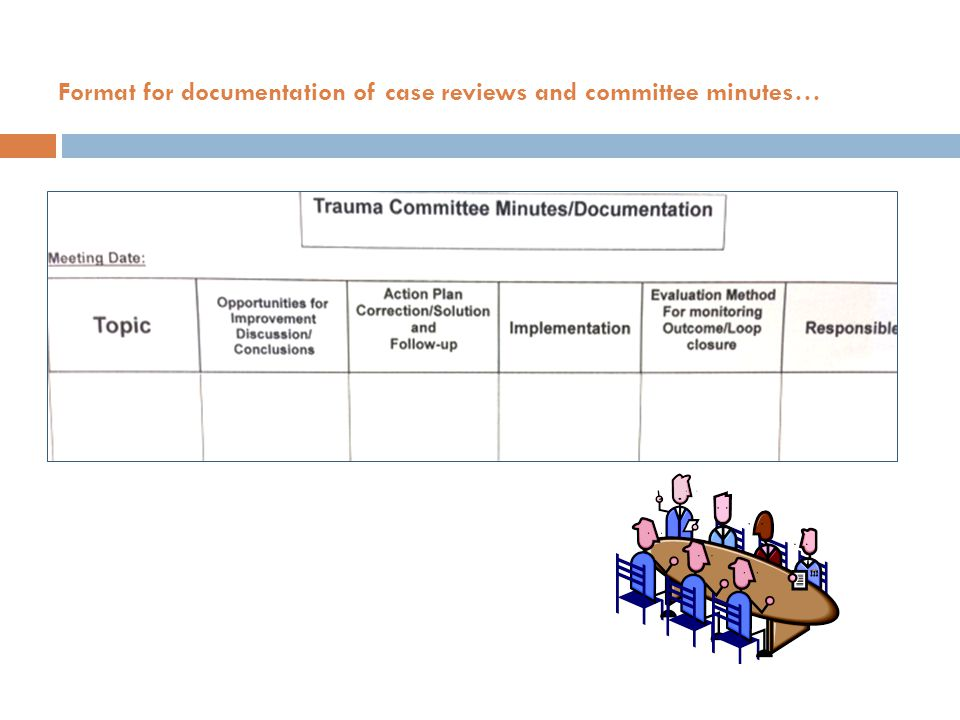 Format for documentation of case reviews and committee minutes…