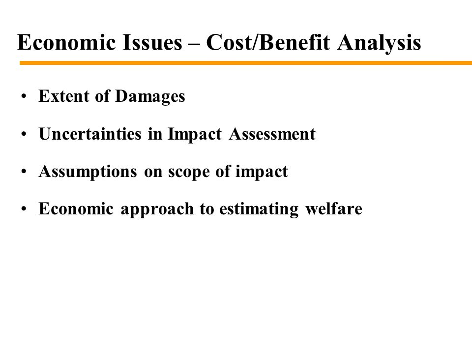 Extent of Damages Uncertainties in Impact Assessment Assumptions on scope of impact Economic approach to estimating welfare Economic Issues – Cost/Benefit Analysis