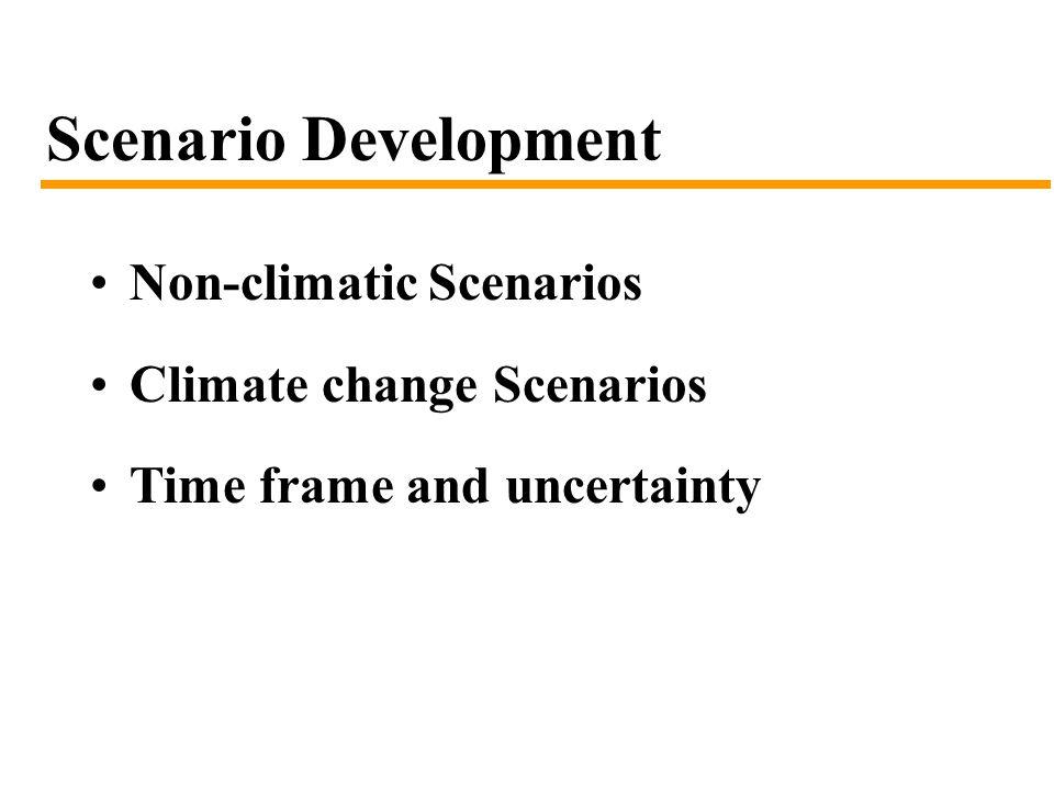 Scenario Development Non-climatic Scenarios Climate change Scenarios Time frame and uncertainty