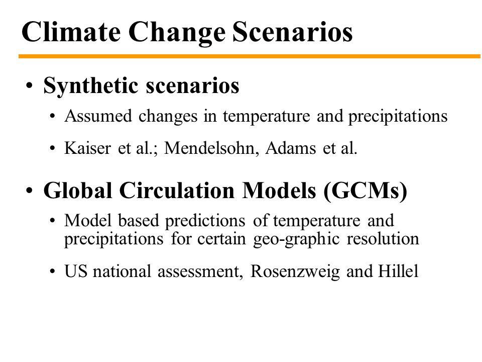 Climate Change Scenarios Synthetic scenarios Assumed changes in temperature and precipitations Kaiser et al.; Mendelsohn, Adams et al.