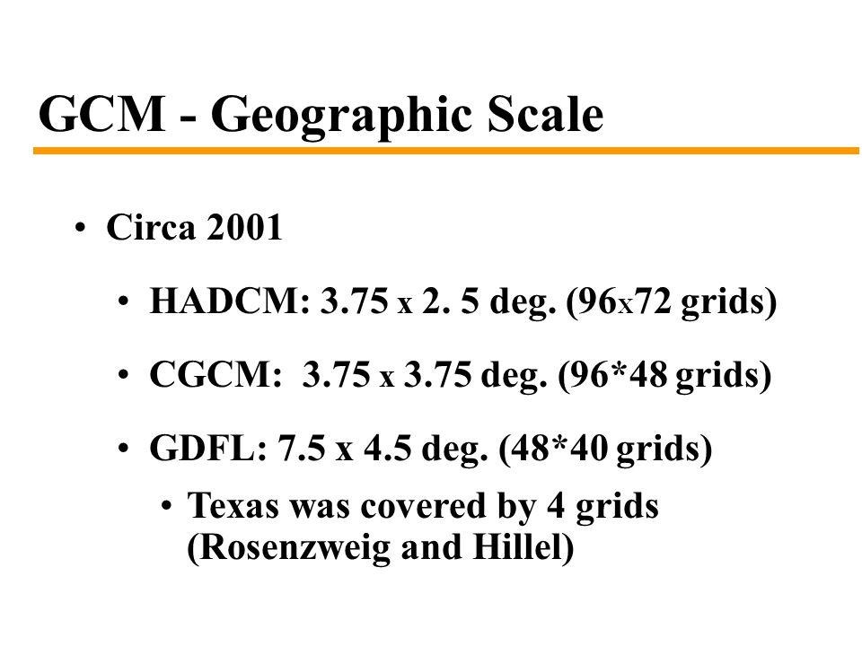 GCM - Geographic Scale Circa 2001 HADCM: 3.75 x 2.