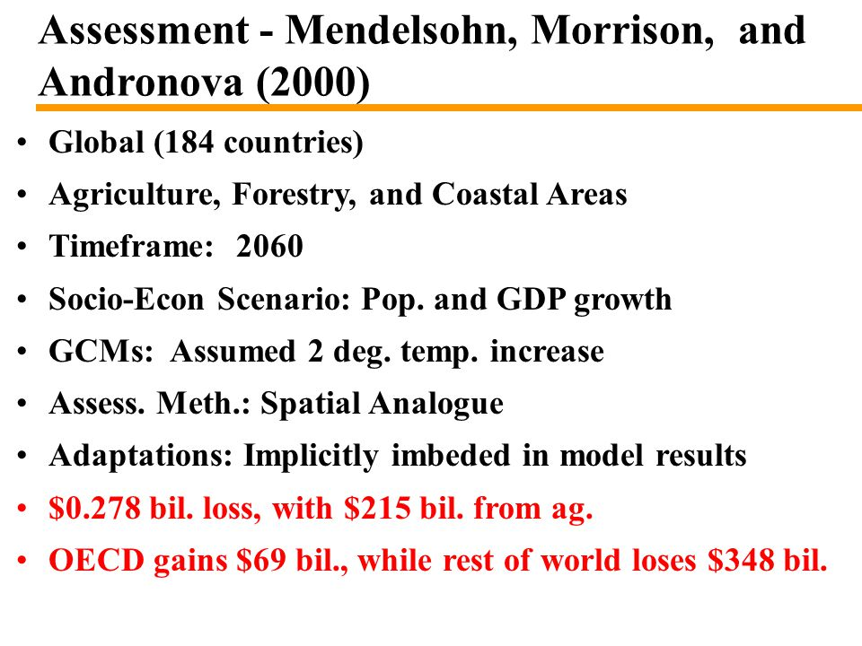 Assessment - Mendelsohn, Morrison, and Andronova (2000) Global (184 countries) Agriculture, Forestry, and Coastal Areas Timeframe: 2060 Socio-Econ Scenario: Pop.