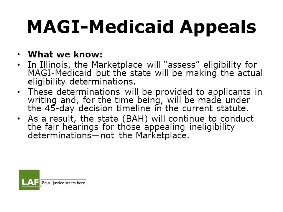 Medicaid Appeals All applications will trigger a written eligibility decision.