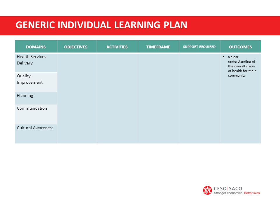 GENERIC INDIVIDUAL LEARNING PLAN DOMAINSOBJECTIVES ACTIVITIESTIMEFRAME SUPPORT REQUIRED OUTCOMES Health Services Delivery a clear understanding of the overall vision of health for their community Quality Improvement Planning Communication Cultural Awareness
