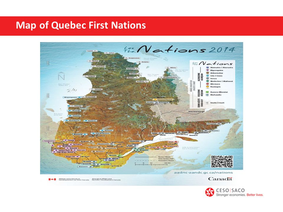 Map of Quebec First Nations