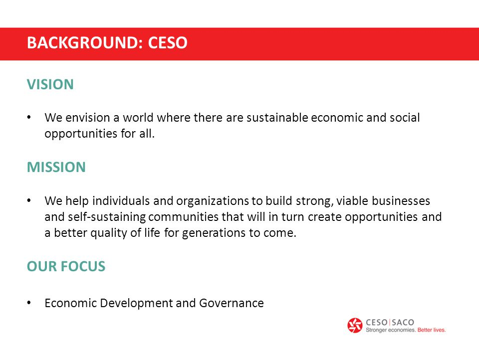 VISION We envision a world where there are sustainable economic and social opportunities for all.