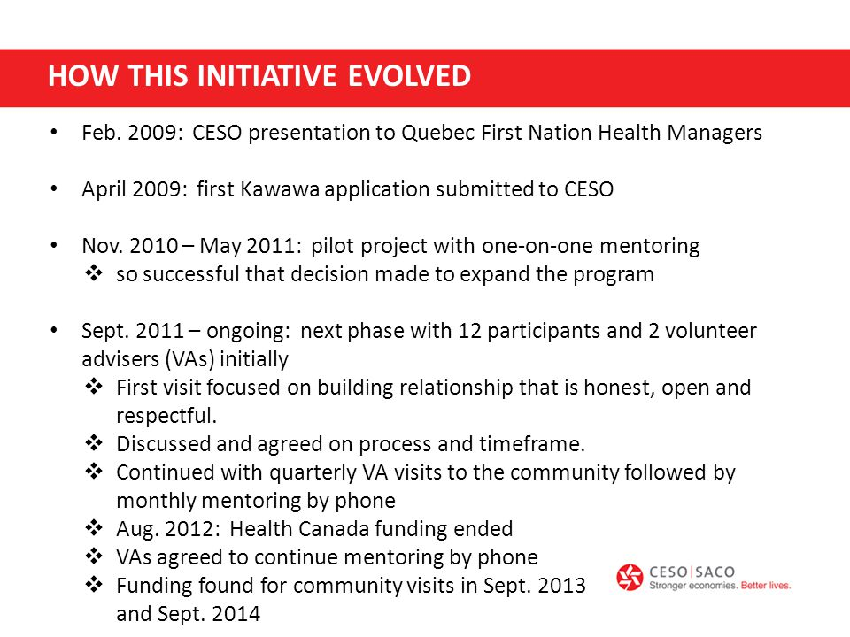 Health Canada funding to CESO ended in May 2012 so VA site visits were suspended However, funding to CESO from the RBC foundation (2013-14) permitted 2 additional site visits by VAs.