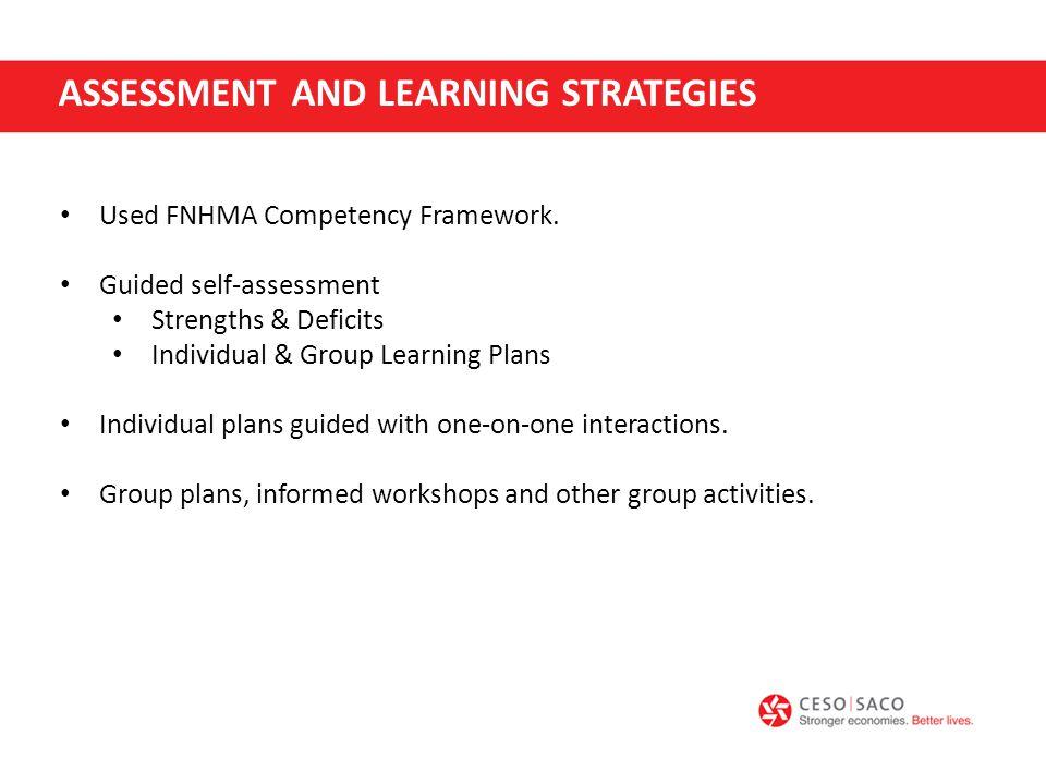 Used FNHMA Competency Framework.