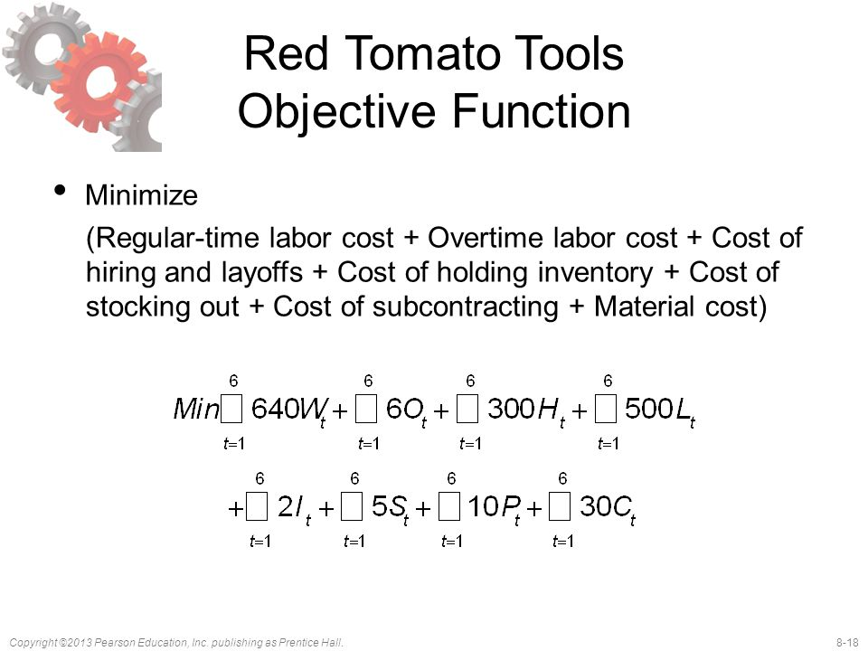 8-18Copyright ©2013 Pearson Education, Inc. publishing as Prentice Hall. Red Tomato Tools Objective Function Minimize (Regular-time labor cost + Overt