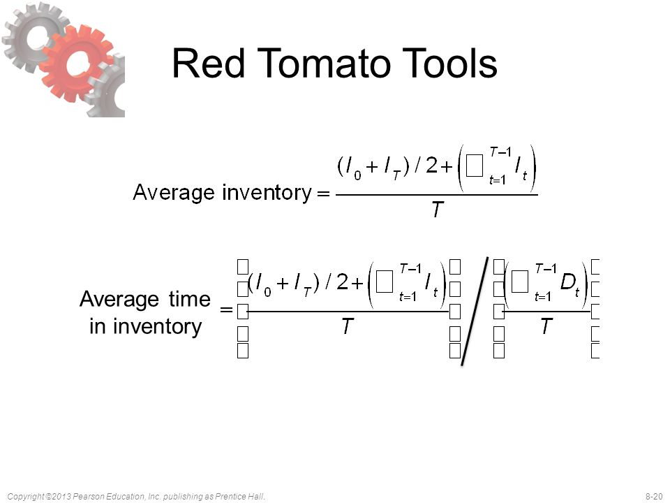 8-20Copyright ©2013 Pearson Education, Inc. publishing as Prentice Hall. Red Tomato Tools Average time in inventory