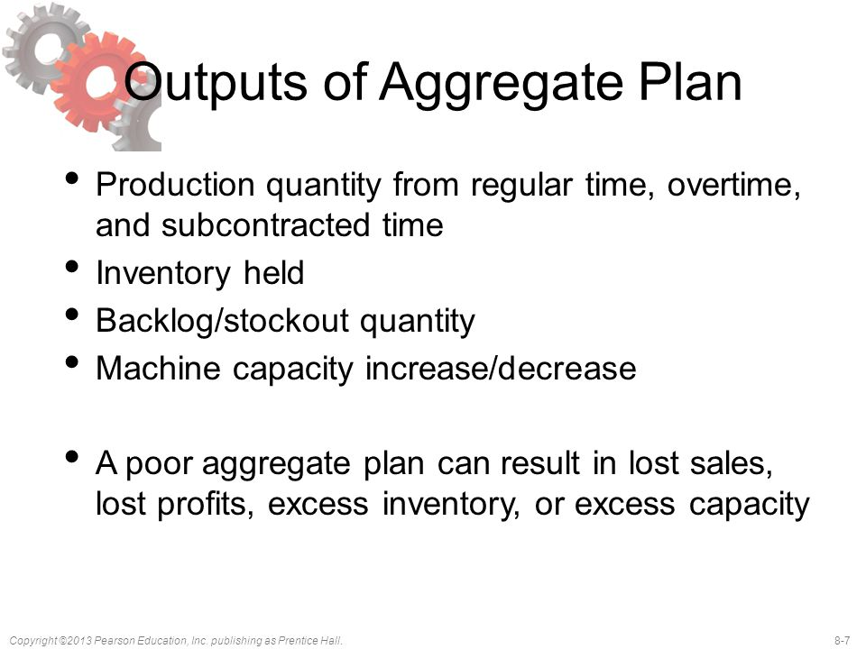 8-7Copyright ©2013 Pearson Education, Inc. publishing as Prentice Hall. Outputs of Aggregate Plan Production quantity from regular time, overtime, and