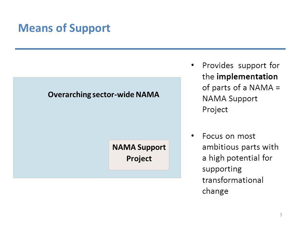 Means of Support Provides support for the implementation of parts of a NAMA = NAMA Support Project Focus on most ambitious parts with a high potential