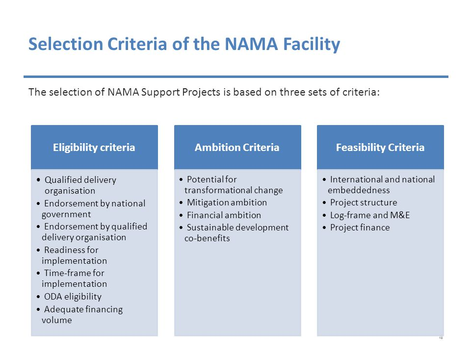 Selection Criteria of the NAMA Facility The selection of NAMA Support Projects is based on three sets of criteria: 4 Eligibility criteria Q ualified delivery organisation Endorsement by national government Endorsement by qualified delivery organisation Readiness for implementation Time-frame for implementation ODA eligibility Adequate financing volume Ambition Criteria Potential for transformational change Mitigation ambition Financial ambition Sustainable development co-benefits Feasibility Criteria International and national embeddedness Project structure Log-frame and M&E Project finance