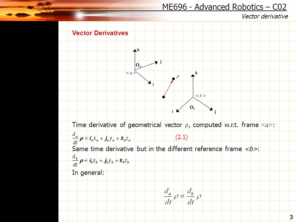 Vector derivative 3 Vector Derivatives Time derivative of geometrical vector , computed w.r.t.