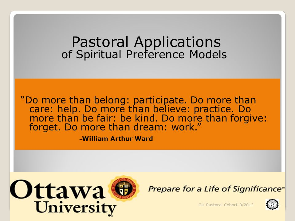 Individual and Congregational Growth Models The Spirituality Type System of Urban T.