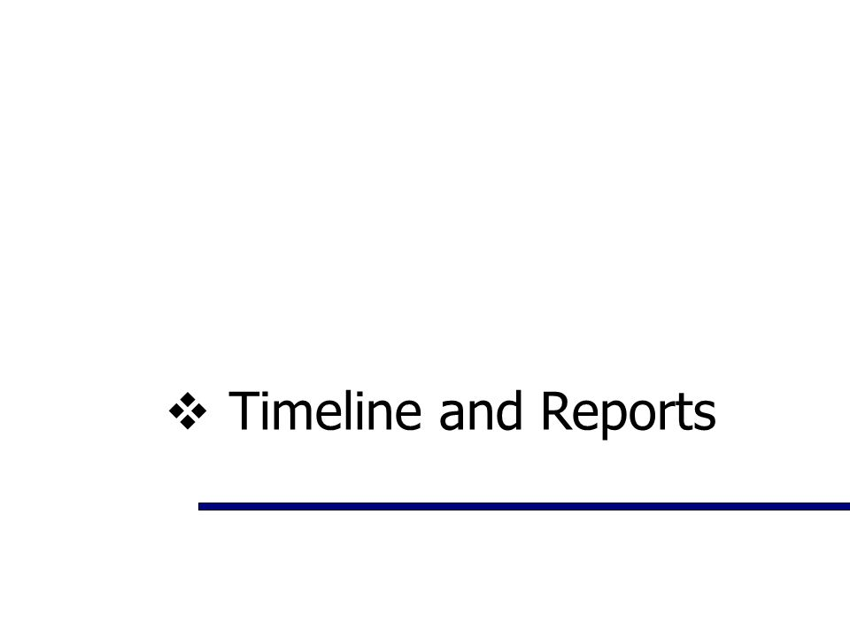 Timeline and Reports