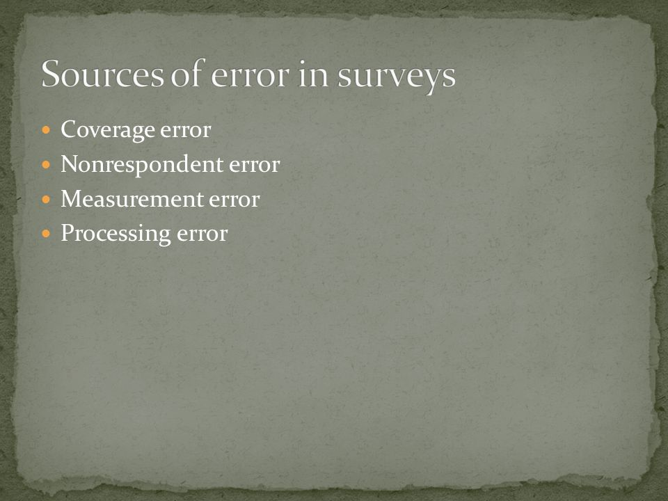 Coverage error Nonrespondent error Measurement error Processing error