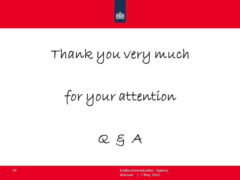 Warsaw | 7 May 2012 Radiocommunication Agency 14 Thank you very much for your attention Q & A