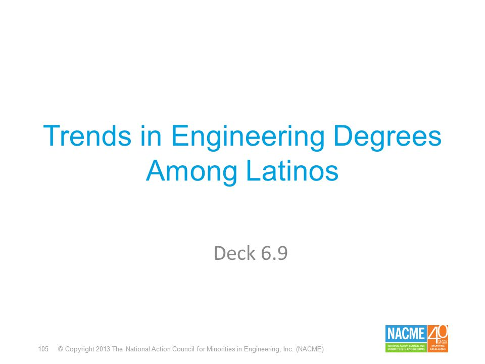 105 © Copyright 2013 The National Action Council for Minorities in Engineering, Inc. (NACME) Trends in Engineering Degrees Among Latinos Deck 6.9
