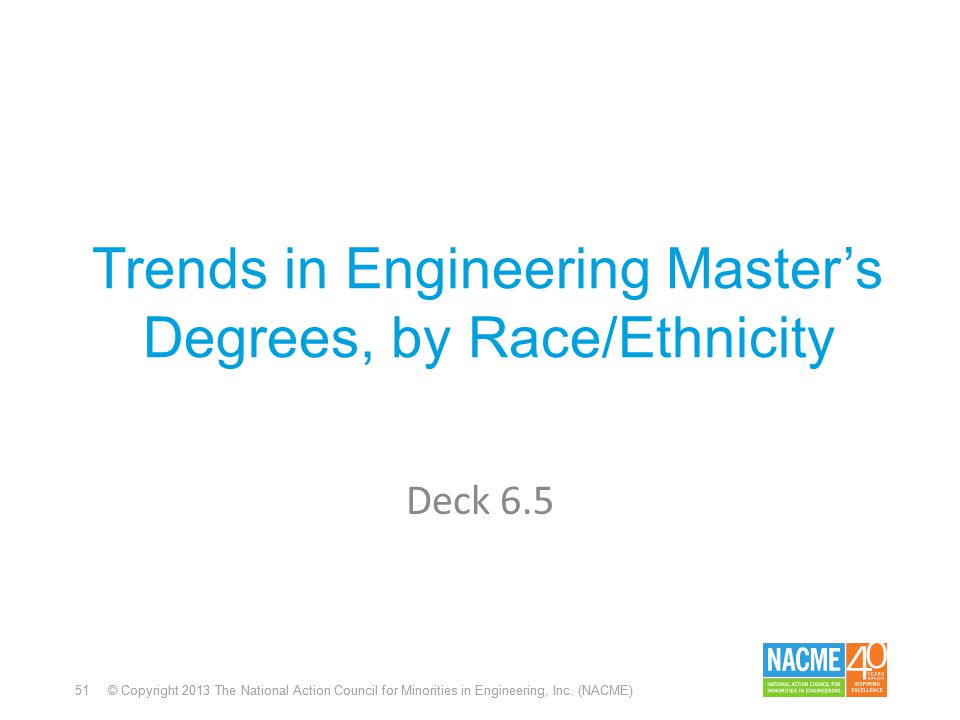 51 © Copyright 2013 The National Action Council for Minorities in Engineering, Inc. (NACME) Trends in Engineering Master's Degrees, by Race/Ethnicity