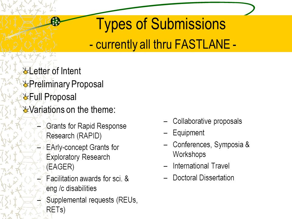 Types of Submissions - currently all thru FASTLANE - –Grants for Rapid Response Research (RAPID) –EArly-concept Grants for Exploratory Research (EAGER