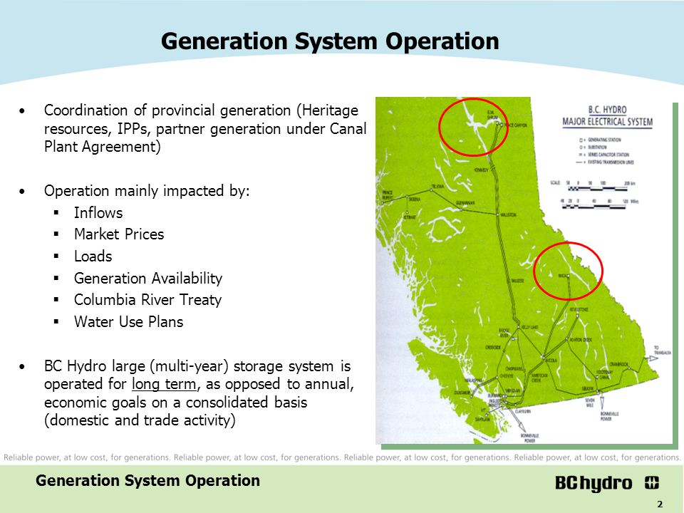 3 Generation Mix - Energy Majority is Dispatchable Non-Dispatchable Generation system operation Columbia, Kootenay and Pend d'Oreille ~ 37% Peace ~28% Heritage Hydro ~78%