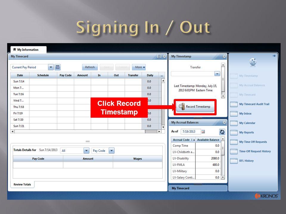 Click Record Timestamp