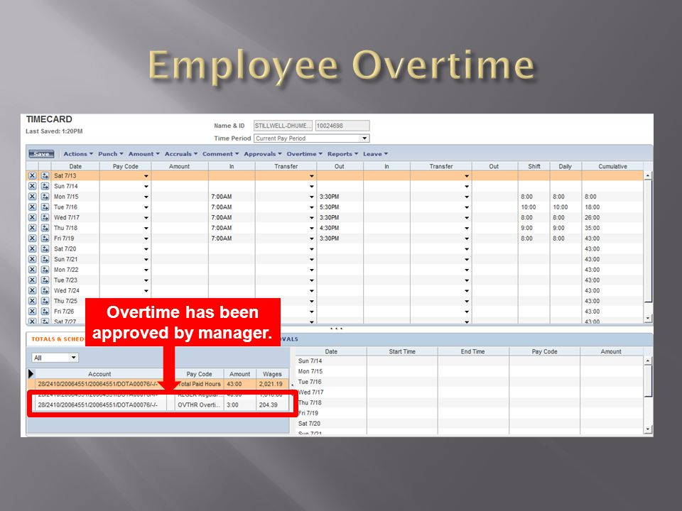 Overtime has been approved by manager.