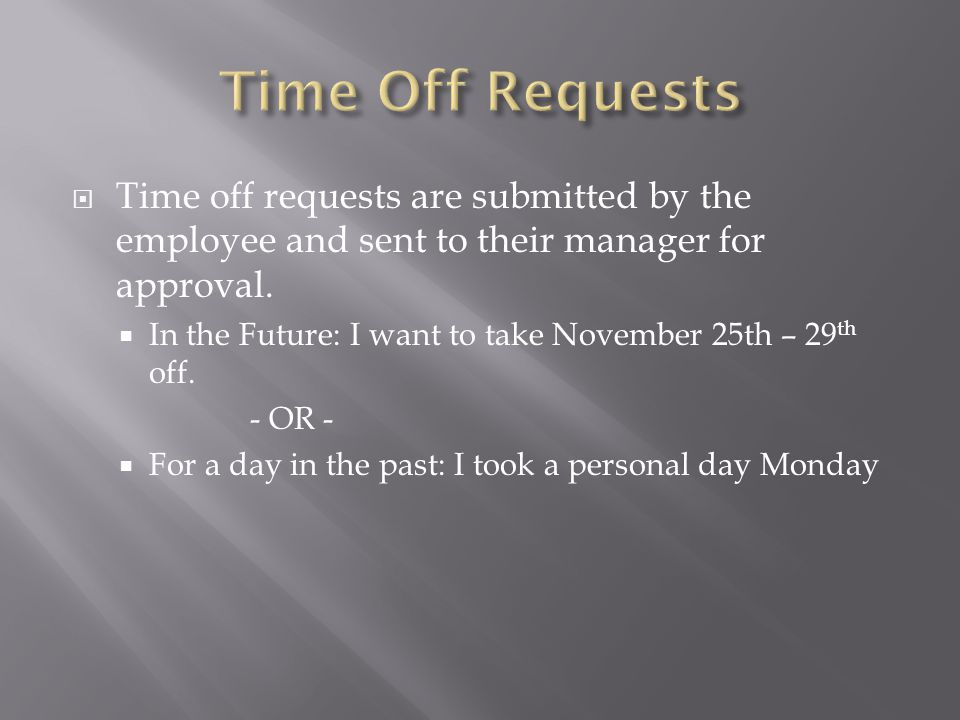  Time off requests are submitted by the employee and sent to their manager for approval.  In the Future: I want to take November 25th – 29 th off. -