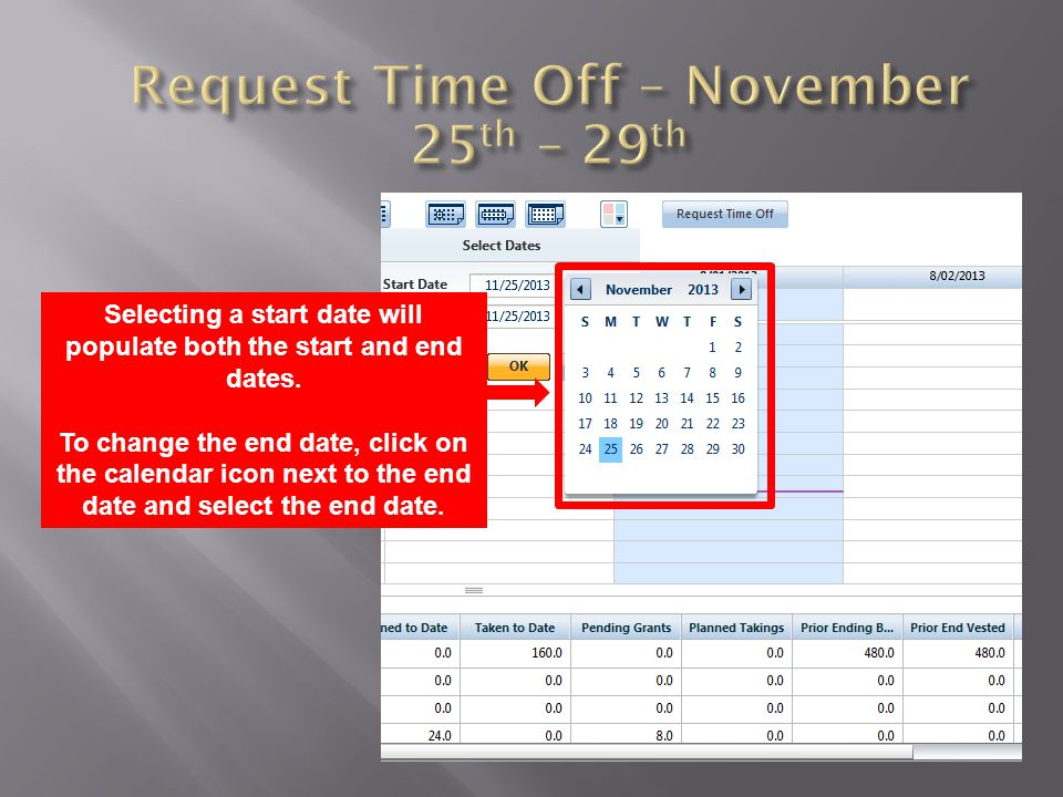 Selecting a start date will populate both the start and end dates. To change the end date, click on the calendar icon next to the end date and select