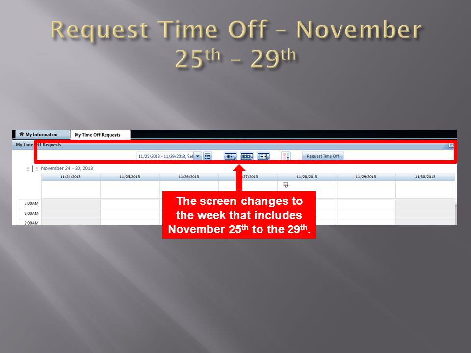 The screen changes to the week that includes November 25 th to the 29 th.